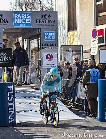 Ο ποδηλάτης Gasparotto Enrico- Παρίσι Νίκαια 2013 υπέρ Εκδοτική Στοκ Εικόνα