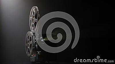 Ο προβολέας που φωτίζεται τους κινηματογράφους από τα φω'τα μεταδίδει ραδιοφωνικά Σκοτεινό στούντιο απόθεμα βίντεο