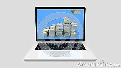 Ο σύγχρονος φορητός υπολογιστής με γράφημα ράβδων δολαρίου αναπτύσσει την επιχειρηματική ιδέα του γραφήματος κινούμενη εικόνα 3d ελεύθερη απεικόνιση δικαιώματος