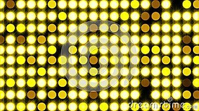 Ο υπολογιστής δημιούργησε έντονο φως πλημμύρας με στρογγυλά σωματίδια και χρυσό λάμψη απόδοση 3d φόντου ντίσκο απόθεμα βίντεο