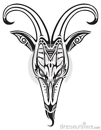 纹身花刺被隔绝的山羊头