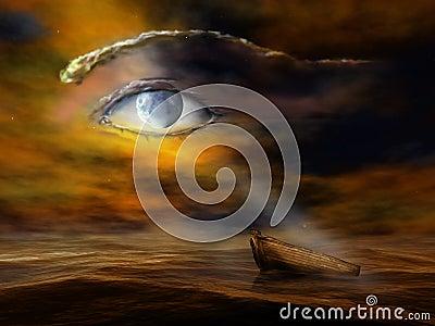 有水船月亮的夜景图
