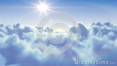 Πέταγμα πέρα από τα σύννεφα με τον ήλιο διανυσματική απεικόνιση