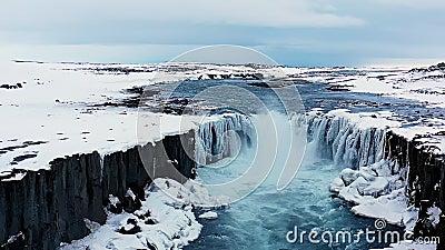 Παγωμένος καταρράκτης Ισλανδία Χιονάτη 100 fps απόθεμα βίντεο