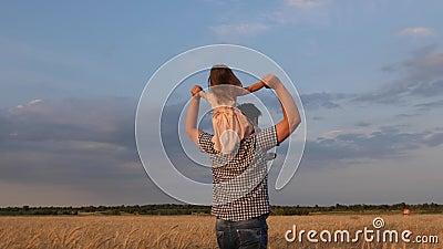 Παιχνίδι γονέων και παιδιών στη φύση μικρή ευτυχισμένη κόρη στους ώμους του πατέρα στο πεδίο του γαλάζιου ουρανού αγόρι απόθεμα βίντεο