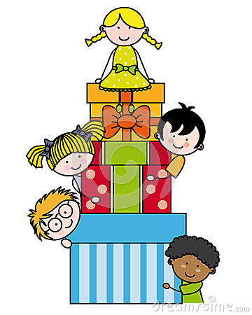 Παιδιά με τις συσκευασίες δώρων