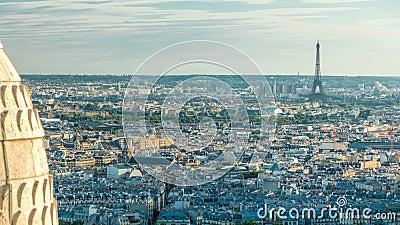 Πανόραμα του Παρισιού timelapse, Γαλλία Τοπ άποψη από την ιερή βασιλική καρδιών Montmartre sacre-Coeur απόθεμα βίντεο