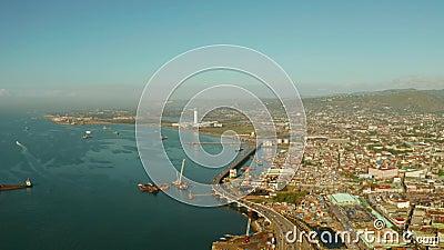 Πανόραμα του Σεμπού το πρωί Οδική γέφυρα και θαλάσσιος λιμένας απόθεμα βίντεο