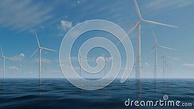 Παράκτιοι ανεμόμυλοι με τη βάρκα τεχνικών ενάντια στην υδρονέφωση πρωινού ελεύθερη απεικόνιση δικαιώματος