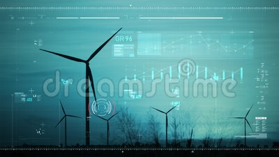 Περίγραμμα σκηνικού ανεμογεννήτριας για οικολογική και καθαρή ενέργεια ηλεκτροπαραγωγής με γραμμή γραφήματος και τεχνολογία διασύ απόθεμα βίντεο