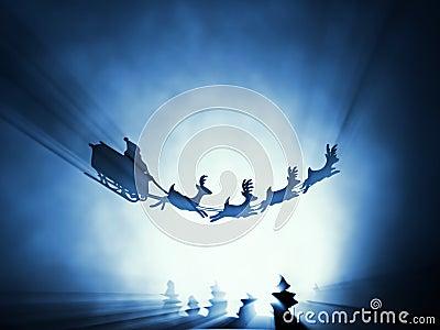 πετώντας έλκηθρο santa