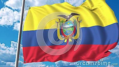 Πετώντας σημαία του Ισημερινού στο υπόβαθρο ουρανού τρισδιάστατη ζωτικότητα απόθεμα βίντεο