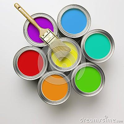 πινέλο χρωμάτων δοχείων