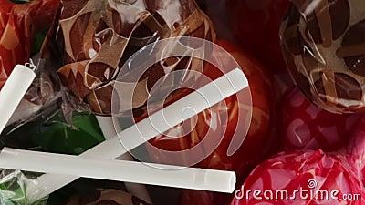 Πολύ Lollipop με τα βιο φρούτα απόθεμα βίντεο