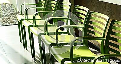 Πράσινες καρέκλες στο νοσοκομείο απόθεμα βίντεο