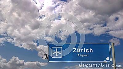 Προσγείωση αεροπλάνου στη Ζυρίχη απόθεμα βίντεο