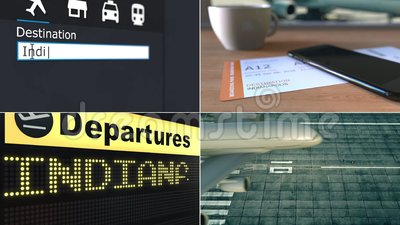 Πτήση στην Ινδιανάπολη Ταξιδεύω στη ζωτικότητα Ηνωμένου εννοιολογική montage φιλμ μικρού μήκους