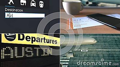 Πτήση στο Ώστιν Ταξιδεύω στη ζωτικότητα Ηνωμένου εννοιολογική montage απόθεμα βίντεο