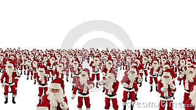 Πλήθος Άγιου Βασίλη που χορεύει, μύγα καμερών γιορτής Χριστουγέννων πέρα από, ενάντια στο λευκό, το μήκος σε πόδηα αποθεμάτων απόθεμα βίντεο