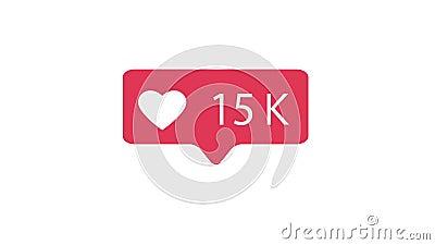Ροζ όπως το εικονίδιο στο άσπρο υπόβαθρο Όπως τον υπολογισμό για τα κοινωνικά μέσα 1-15K συμπαθεί 4K βίντεο απόθεμα βίντεο