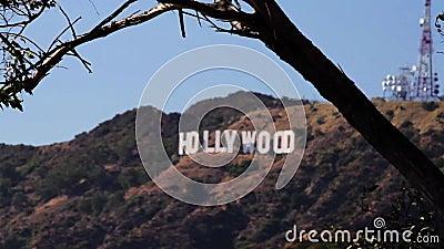 Σημάδι του Λος Άντζελες Hollywood (πόλεις) απόθεμα βίντεο