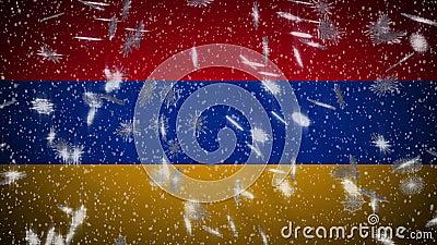 Σημαία της Αρμενίας που πέφτει χιόνι, φόντο Πρωτοχρονιάς και Χριστουγέννων, επανάληψη απεικόνιση αποθεμάτων