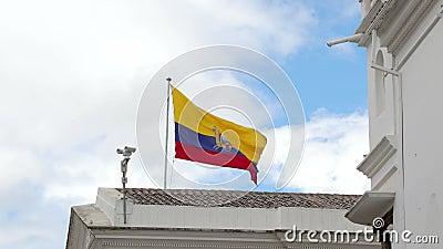 Σημαία του Ισημερινού στον άνεμο απόθεμα βίντεο