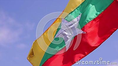 σημαία Myanmar απόθεμα βίντεο