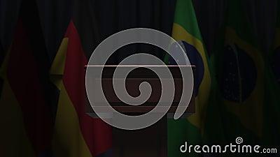 Σημαίες της Γερμανίας και της Βραζιλίας και μεγάφωνο Απεικόνιση 3D σχετικά με το πολιτικό γεγονός ή τις διαπραγματεύσεις απόθεμα βίντεο