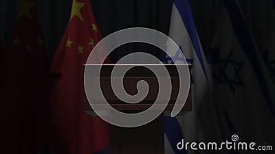 Σημαίες της Κίνας και του Ισραήλ και πρόεδρος του δικαστηρίου Απεικόνιση 3D σχετικά με το πολιτικό γεγονός ή τις διαπραγματεύσεις απόθεμα βίντεο