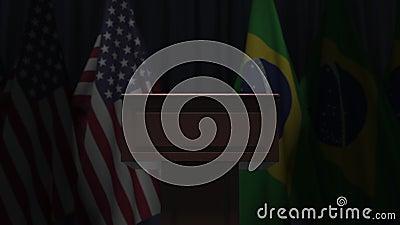 Σημαίες των ΗΠΑ και της Βραζιλίας και μεγάφωνο Απεικόνιση 3D σχετικά με το πολιτικό γεγονός ή τις διαπραγματεύσεις απόθεμα βίντεο