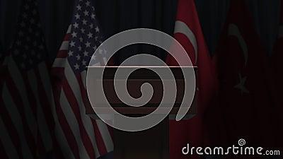 Σημαίες των ΗΠΑ και της Τουρκίας και πρόεδρος του δικαστηρίου Απεικόνιση 3D σχετικά με το πολιτικό γεγονός ή τις διαπραγματεύσεις φιλμ μικρού μήκους