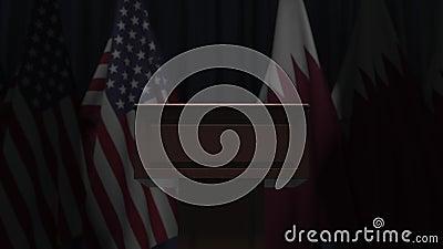 Σημαίες των ΗΠΑ και του Κατάρ και μεγάφωνο Απεικόνιση 3D σχετικά με το πολιτικό γεγονός ή τις διαπραγματεύσεις φιλμ μικρού μήκους