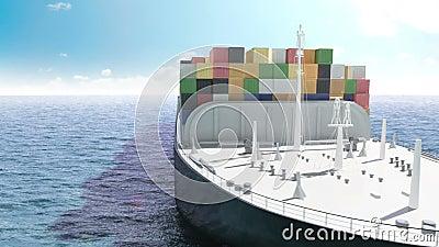 Σκάφος εμπορευματοκιβωτίων φορτίου σε μια θάλασσα