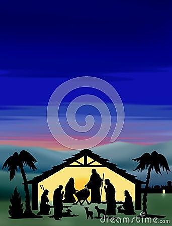 σκιαγραφία nativity χρώματος