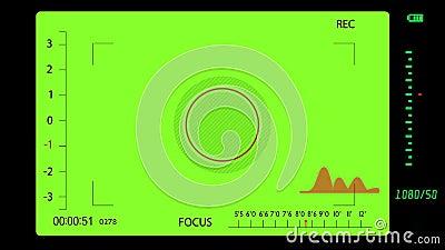 Σκόπευτρο φωτογραφικής μηχανής κατά την ενεργοποίηση πράσινου φόντου διανυσματική απεικόνιση