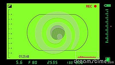 Σκόπευτρο φωτογραφικής μηχανής κατά την ενεργοποίηση πράσινου φόντου απεικόνιση αποθεμάτων