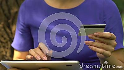 Σοβαρή γυναίκα που εισάγει τον αριθμό καρτών στην ετικέττα, στιγμιαία μεταφορά χρημάτων, χρηματοδότηση app φιλμ μικρού μήκους