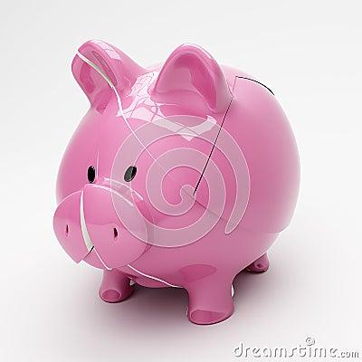 Σπασμένη piggy τράπεζα