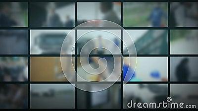 Στούντιο TV Θολωμένο υπόβαθρο με τα όργανα ελέγχου Υπόβαθρο ειδήσεων φιλμ μικρού μήκους