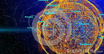 Σφαίρα ποδοσφαίρου και ήπειροι του πλανήτη Γη που περιστρέφεται σε ένα υπόβαθρο κλίσης, που αποτελούνται από τις γραμμές και τα μ διανυσματική απεικόνιση