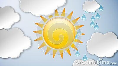 Σύννεφα και βροχή και ήλιος ελεύθερη απεικόνιση δικαιώματος