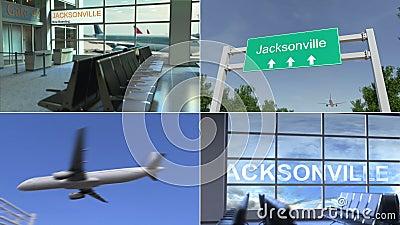 Ταξίδι στο Τζάκσονβιλ Το αεροπλάνο φθάνω στη ζωτικότητα Ηνωμένου εννοιολογική montage απόθεμα βίντεο