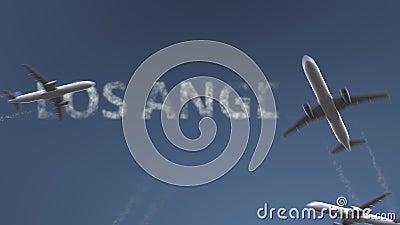 Τα πετώντας αεροπλάνα αποκαλύπτουν τον τίτλο του Λος Άντζελες Ταξιδεύω στη ζωτικότητα Ηνωμένης εννοιολογική εισαγωγής απόθεμα βίντεο