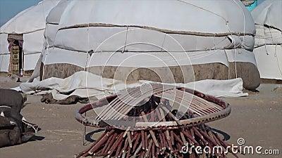 Τελειωμένος yurts και τα μέρη τους απόθεμα βίντεο