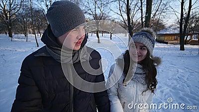 Το δάσος χειμερινού χιονιού ζεύγους την εκμετάλλευση που περπατά των νεαρών άνδρων και γυναικών παραδίδει το χιονώδες πάρκο και η φιλμ μικρού μήκους