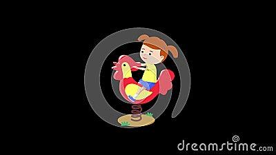 Το κορίτσι οδηγά έναν κόκκορα cartoon ελεύθερη απεικόνιση δικαιώματος