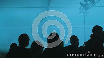 Το πλήθος έχει τη διασκέδαση στο γεγονός συναυλίας να παρουσιάσει feamale ανεμιστήρα σκιαγραφιών φιλμ μικρού μήκους