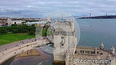 Το σημαντικότερο ορόσημο στη Λισαβόνα Ο Πύργος του Μπελέμ από ψηλά απόθεμα βίντεο