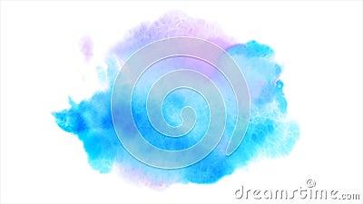 Το όμορφο μπλε σημείο εμφανίζεται σε ένα άσπρο υπόβαθρο Τα κυανά και ρόδινα χρώματα διαδίδουν σε χαρτί διαμορφώνοντας έναν λεκέ απόθεμα βίντεο
